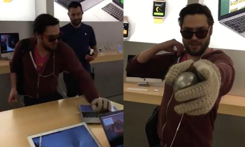 ВоФранции недовольный клиент перебил мобильные телефоны вмагазине Apple шаром для петанка