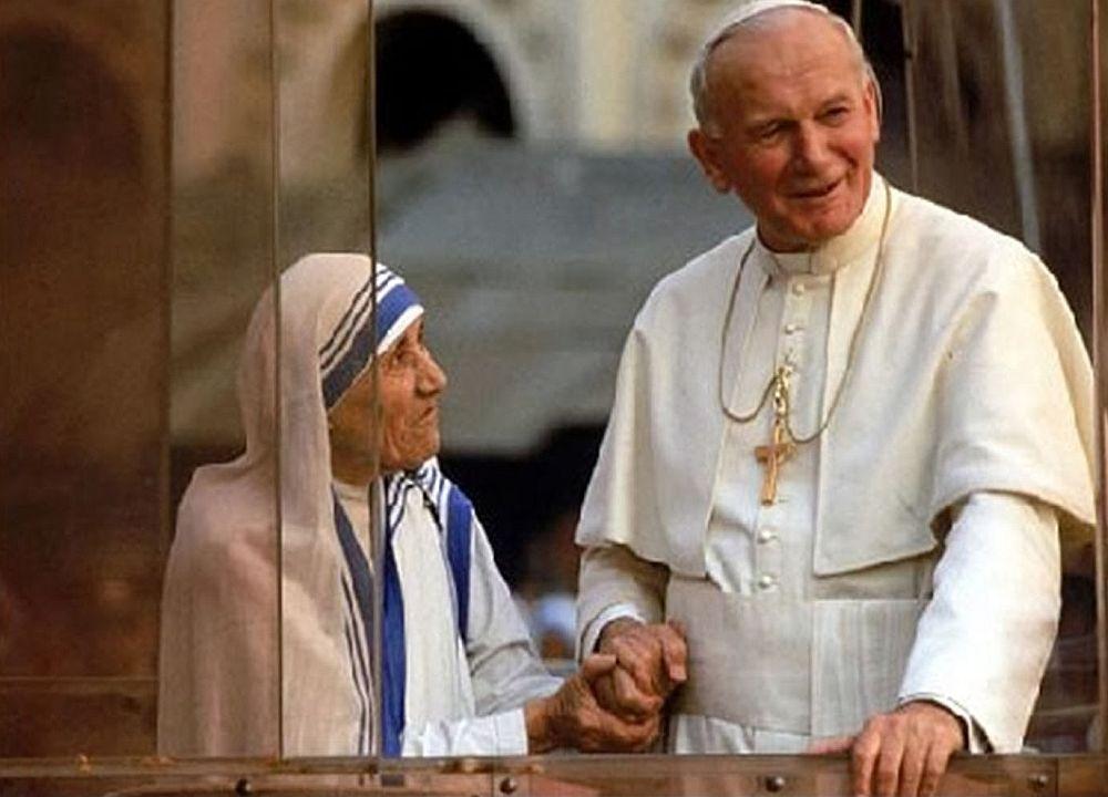 Мать Тереза и папа Римский Иоанн Павел II.