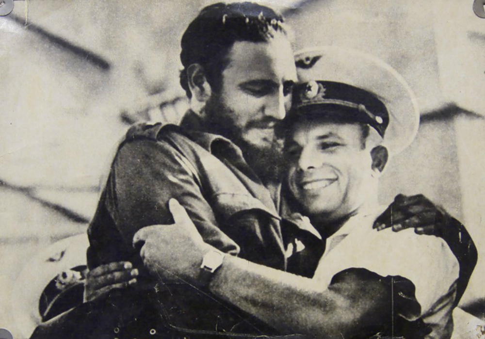 Фидель Кастро и первый советский космонавт Юрий Гагарин