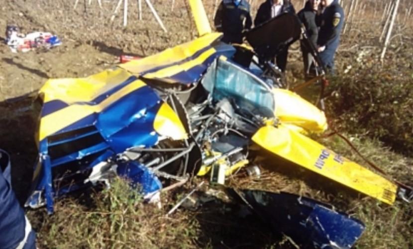 Опубликованы фотографии с места падения частного вертолета Robinson в Крыму