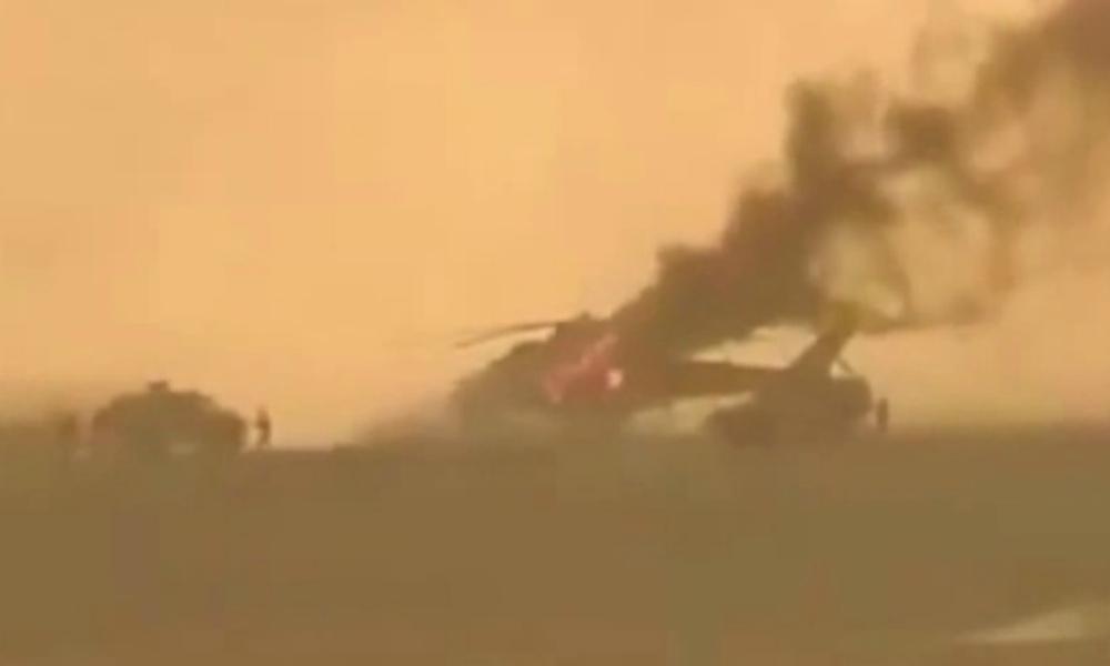 В Сети появилось видео минометного обстрела российского вертолета в Сирии