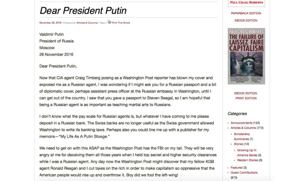 Пол Крейг Робертс, прежний помощник Рейгана попросил уКремля русский паспорт