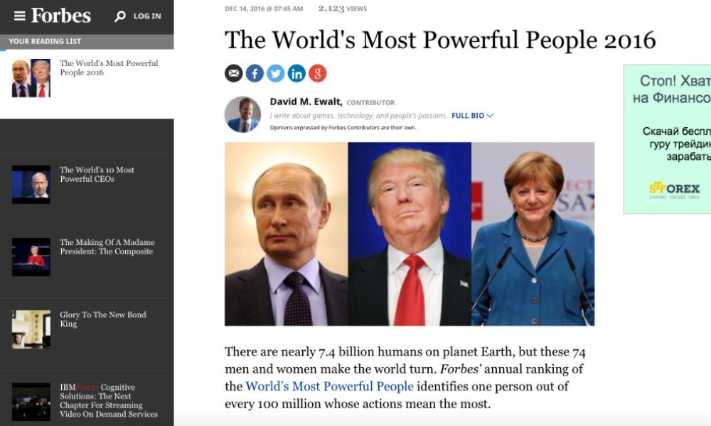 Кремль отреагировал нановость опервом месте Владимира Путина врейтинге Forbes
