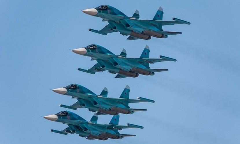 Враспоряжение Министерства обороныРФ поступили еще 4 фронтовых бомбардировщика Су-34