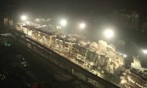 В Китае за 10 секунд взорвали сразу 19 многоэтажек