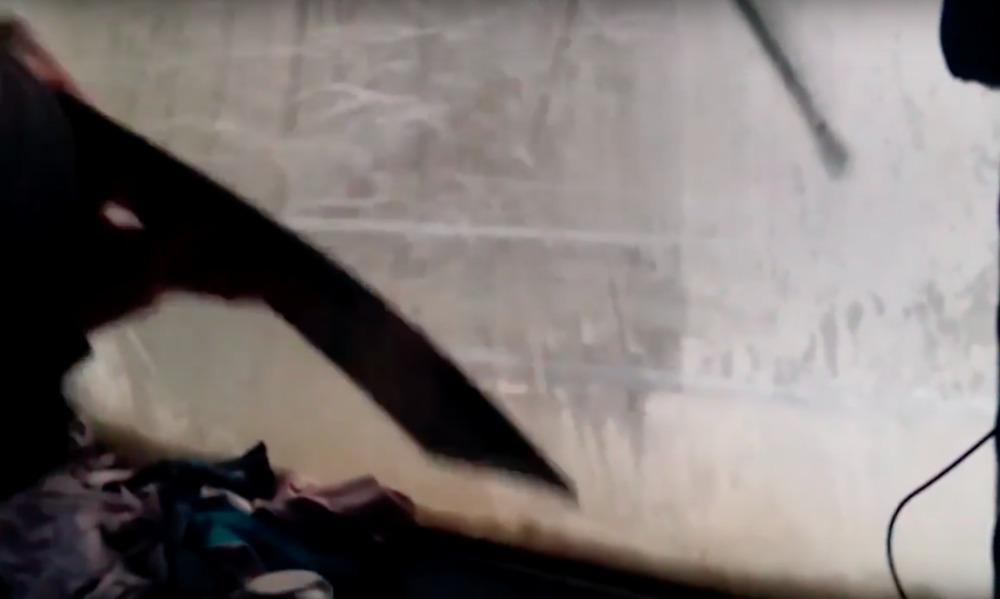 Опубликовано видео попыток машиниста движущегося вслепую поезда расчистить лобовое стекло от наледи