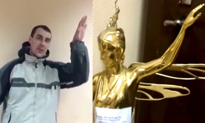 Опубликовано видео признания похитителя статуи в московском парке