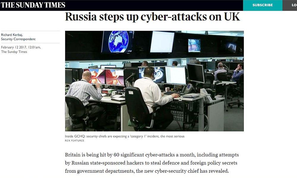 В Великобритании сообщили оросте кибератак состороны хакеров из Российской Федерации