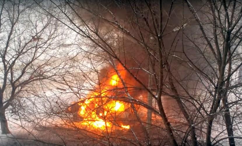 Опубликовано видео с места взрыва автомобиля одного из руководителей Народной милиции ЛНР