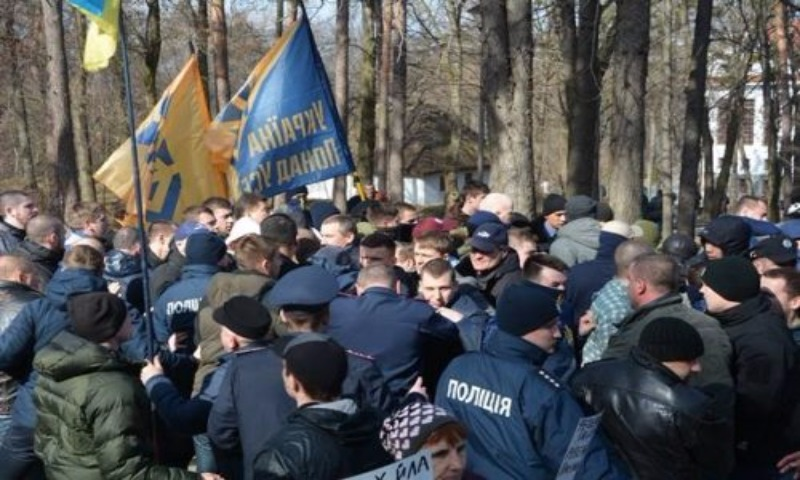 Украинские националисты подрались из-за цветов на могиле Тараса Шевченко