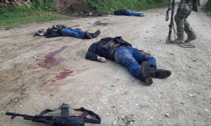 Фотографии четверых убитых в Дагестане боевиков опубликованы в Сети