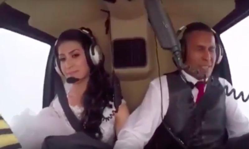 Опубликовано видео падения вертолета с летевшей на свадьбу невестой