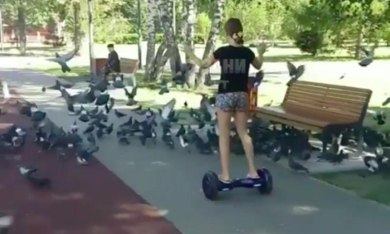 Девочку развеселил ее наезд на гироскутере на голубя в Казани