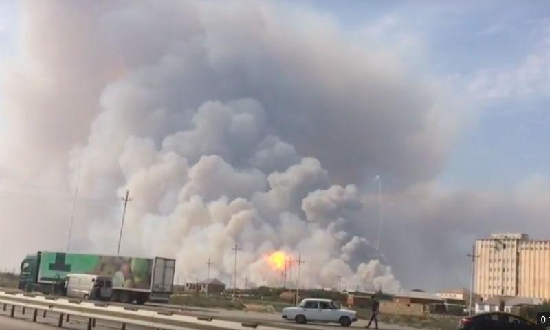 Опубликовано видео взрыва на оружейном складе в Азербайджане
