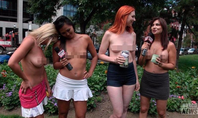 Канадские телеведущие разделись до пояса и вышли на улицы Торонто