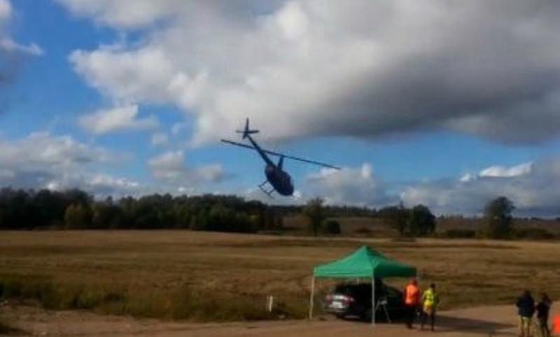 Опубликовано видео падения вертолета на ралли в Латвии