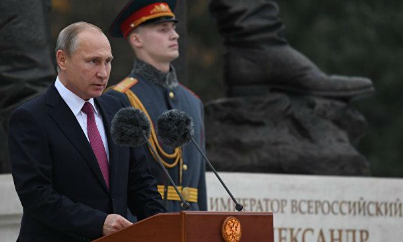 Путин открыл в Крыму памятник самому миролюбивому императору России