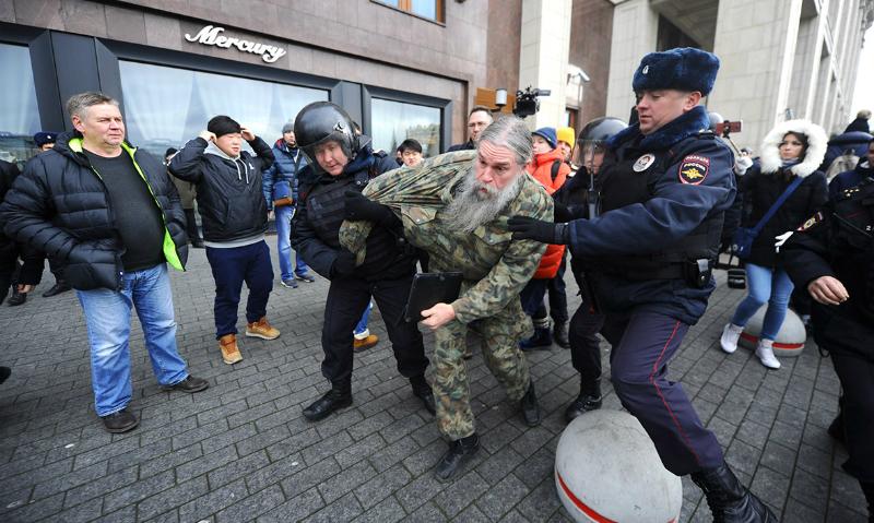 В центре Москвы прошли массовые задержания