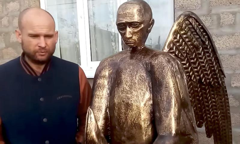 В Астрахани отлили бронзового Путина в образе ангела-медведя с осетром