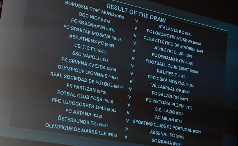 Итоги жеребьевки 1/16 финала футбольной Лиги Европы.