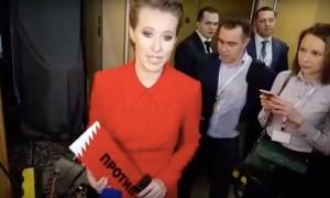 Собчак пришла на пресс-конференцию дебатировать с Путиным
