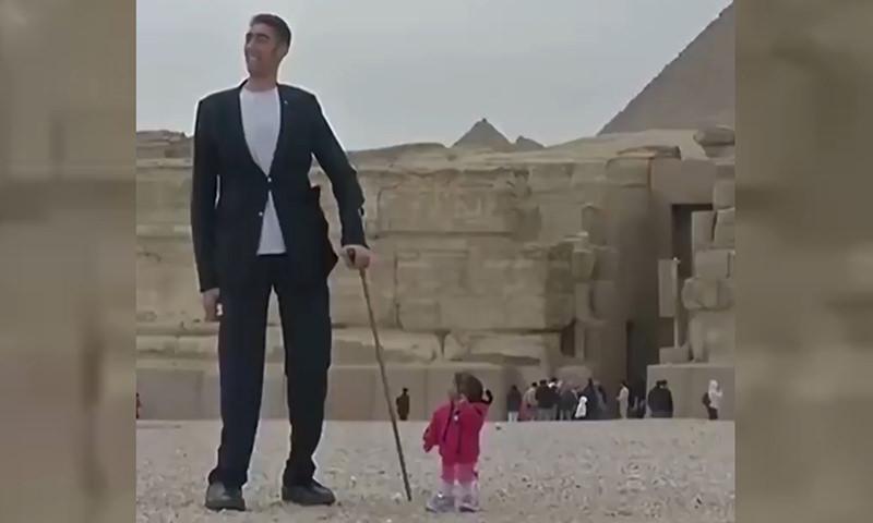 Самый большой мужчина и самая маленькая женщина встретились в Египте