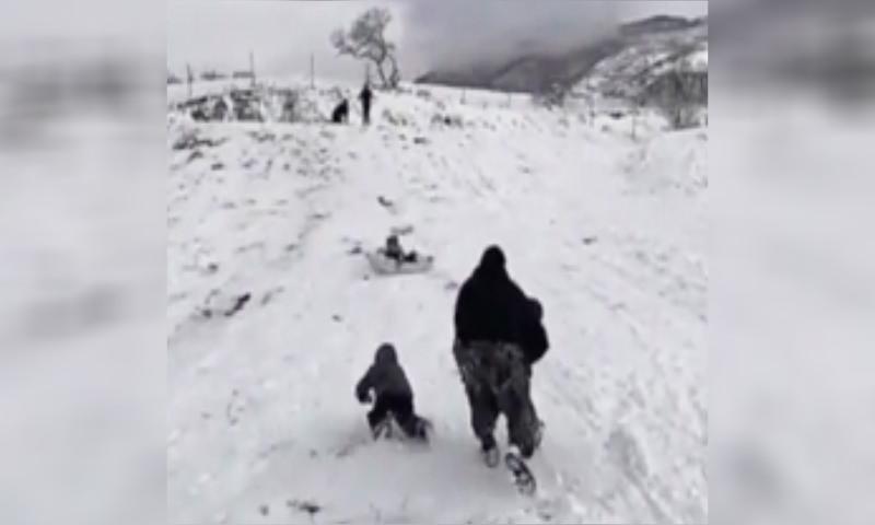 Отец спас своих детей прыжком в голливудском стиле