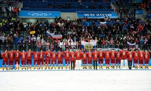 Российские хоккеисты спели гимн РФ во время награждения на ОИ-2018