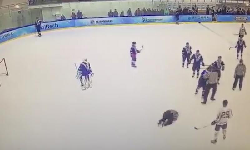 Глава профсоюза КХЛ Андрей Коваленко во время матча вырубил судью одним ударом