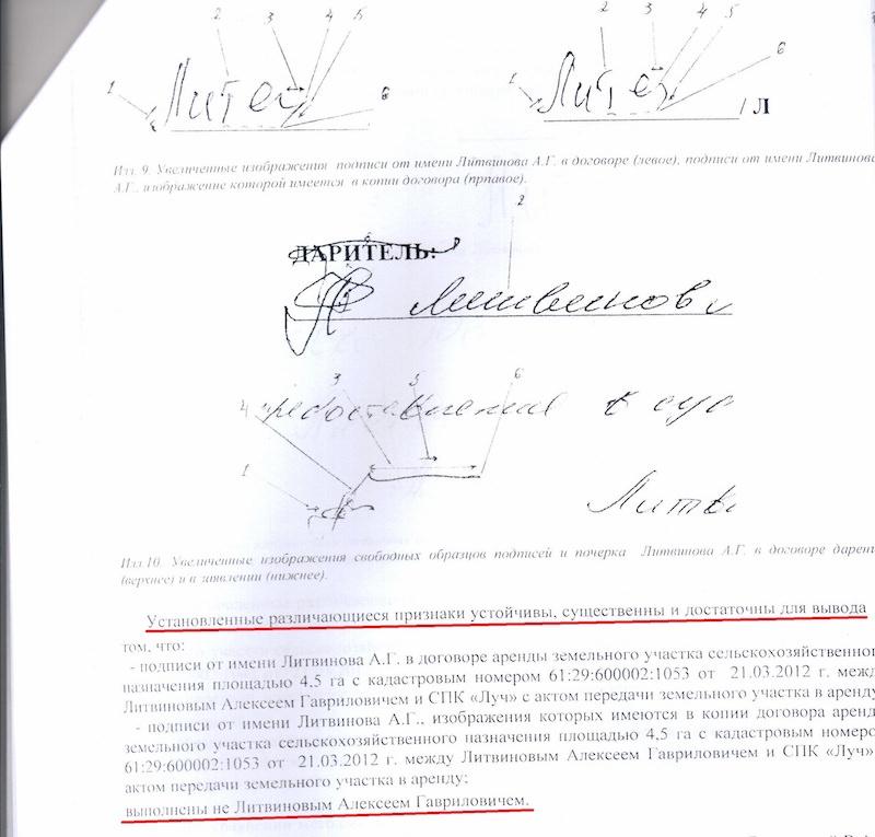 Независимая экспертиза установила, что подпись якобы о продлении аренды 45 гектаров до 2021 года фальшивая. Но судья Людмила Георгиенко почему-то дождалась пока дедушка Алексей Литвинов умрет и назначила новую