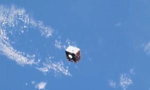 Космонавт на МКС снял пролетающий мимо спутник