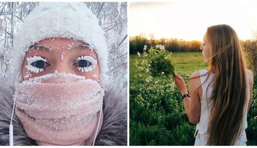 Девушка с замерзшими ресницами показала