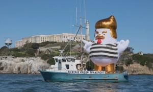 Цыпленок-Трамп в форме зека отправился в плавание в США