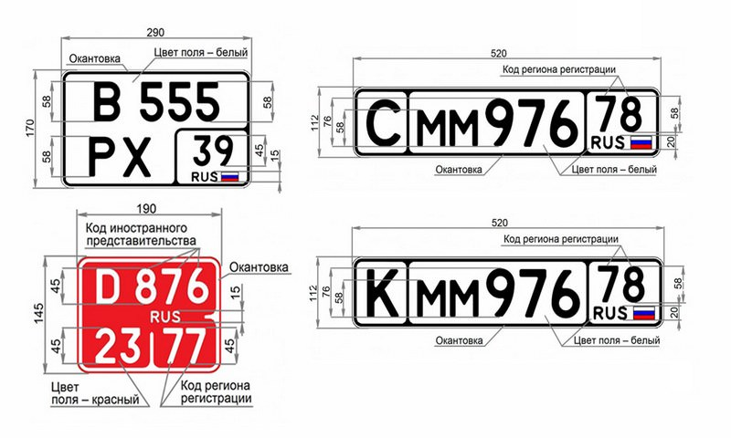 В России утвердили новые виды автомобильных номеров