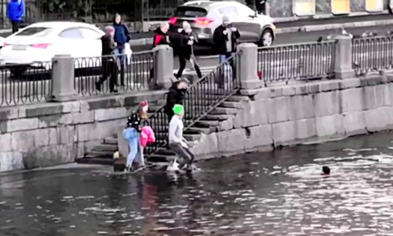 Прохожий спас собачку Булочку и ее хозяина, тонувших в ледяной реке Питера