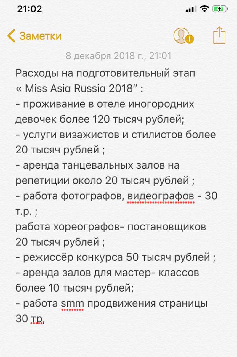 Расходы на «Мисс Азия Россия 2018», предоставлено Еленой Мардаевой