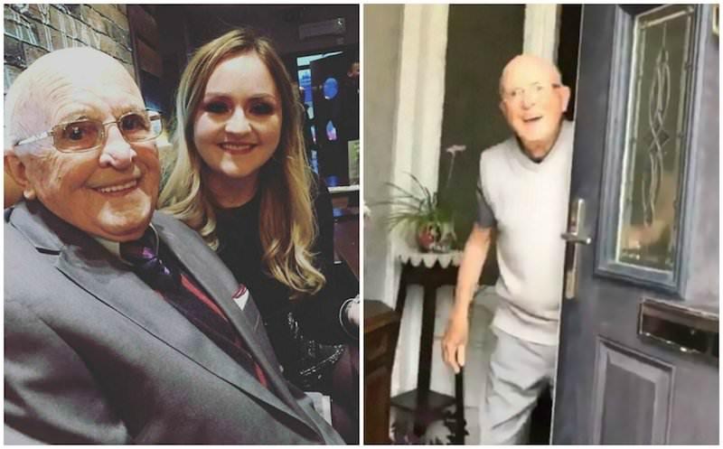 Внучка долгое время снимала реакцию 87-летнего дедушки на ее приход в гости