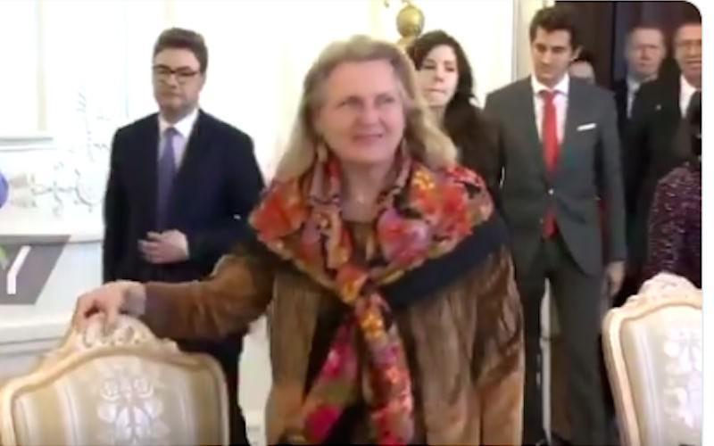Глава МИД Австрии пришла к Лаврову в павловопосадском платке