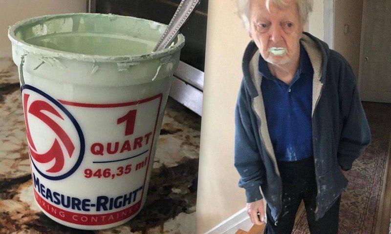 90-летний дедушка перепутал краску с йогуртом, но остался здоров и даже доволен