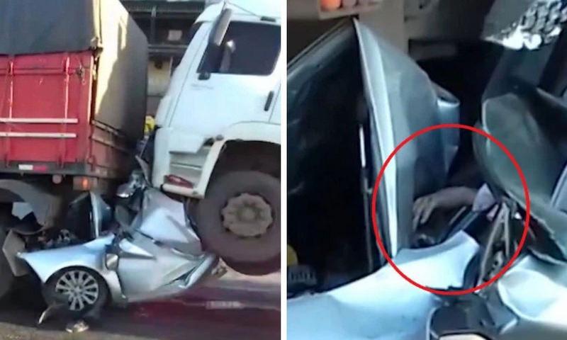 Очевидцы были уверены, что водитель погиб, но он протянул им руку