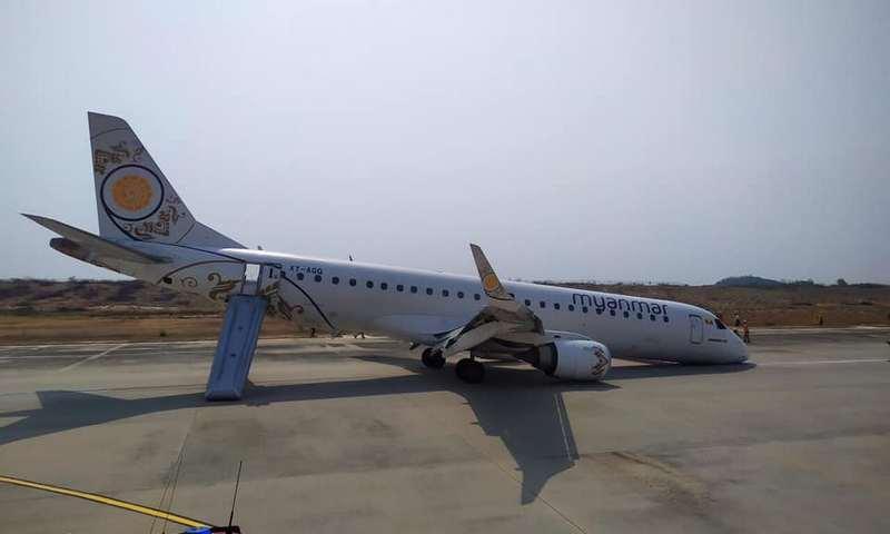 В Мьянме пассажирский авиалайнер сел без передних шасси