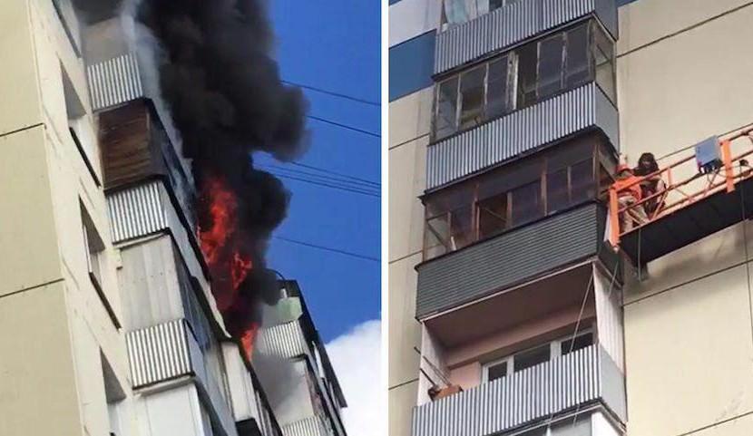 Рабочие в люльке спасли семью с ребенком из полыхающей квартиры