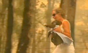 Смелая австралийка бросилась в огонь ради спасения коалы