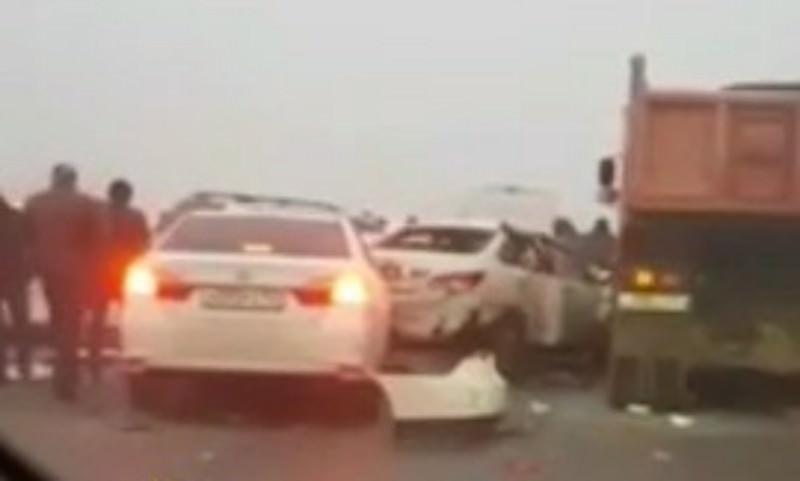 Опубликовано видео из Краснодара, где столкнулись 32 машины