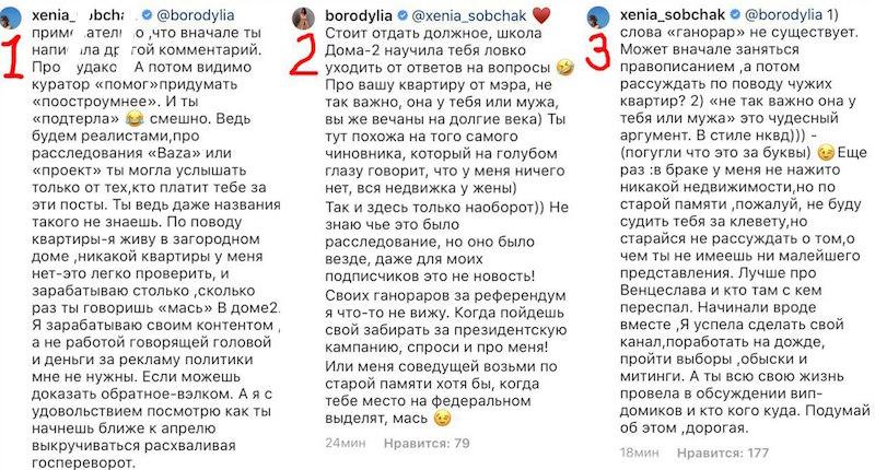 """Собчак и Бородина рассорились из-за расследования о """"квартире от Собянина"""""""