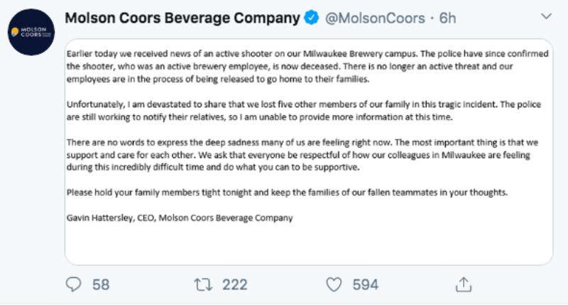 На пивоваренном заводе в США в перестрелке погибли семь человек