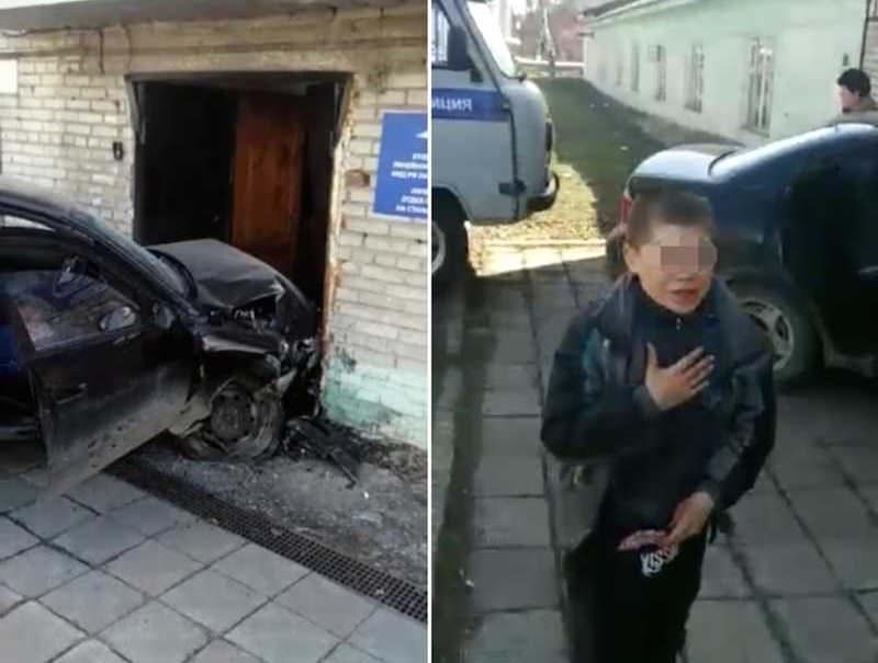 Маму обидели: ребенок заступился за родителей, врезавшихся в здание полиции