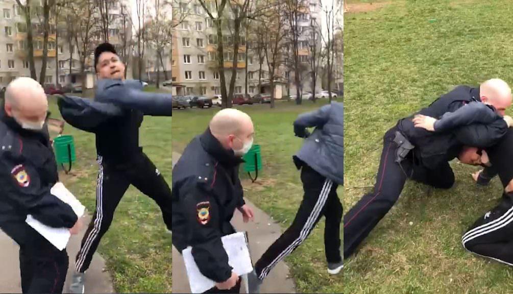 Суд отказался арестовывать мужчину, напавшего на полицейского в Москве