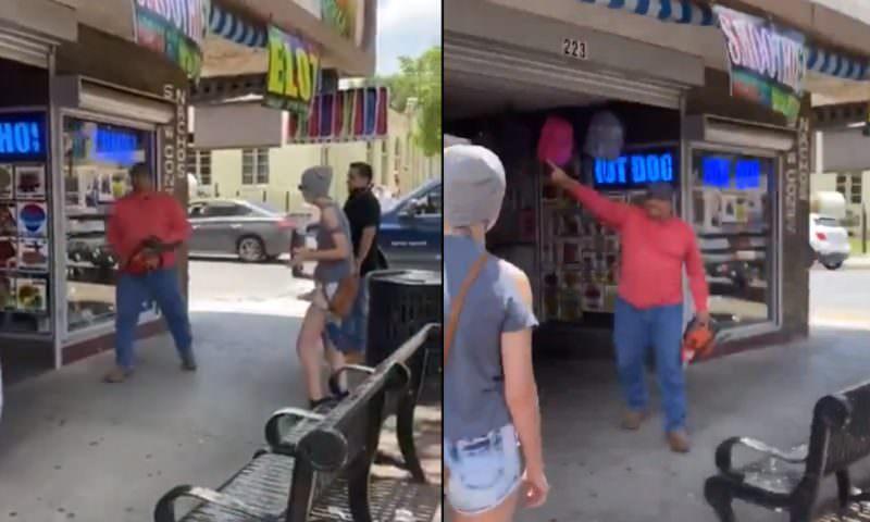 В США владелец магазина отогнал митингующих бензопилой
