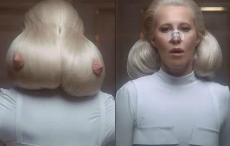 Собчак появилась в клипе Лободы с прической в виде груди